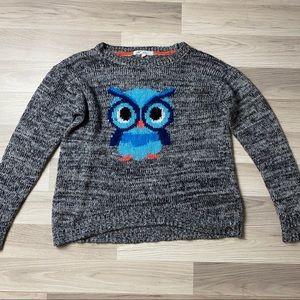 Jolt Grey Super Cute Blue Owl Sweater